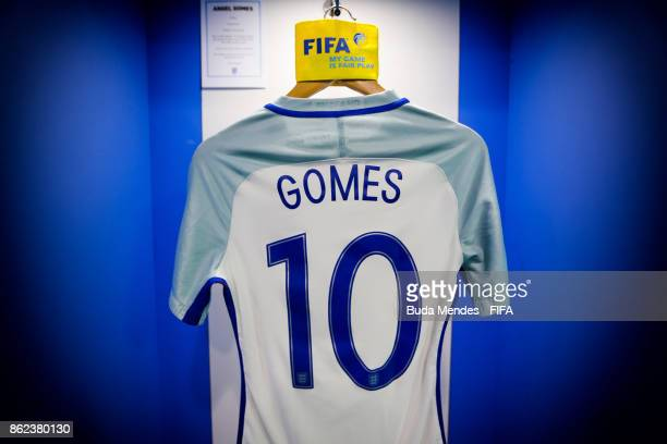 The shirt of England captain Angel Gomes is laid out in the changing room ahead of the FIFA U17 World Cup India 2017 Round of 16 match between...