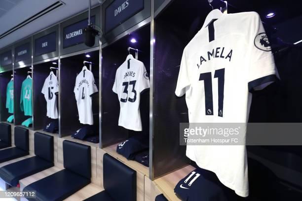 The shirt of Erik Lamela of Tottenham Hotspur in the dressing room prior to the Premier League match between Tottenham Hotspur and Wolverhampton...