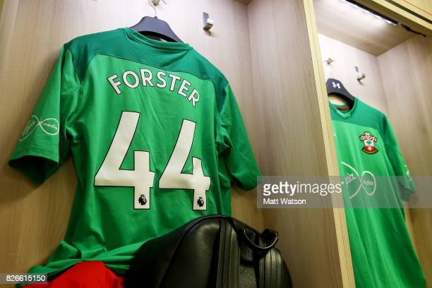 the shirt of Fraser Forster having gone back to number 44 prior to the preseason friendly between Southampton FC and Sevilla at St Mary's Stadium on...