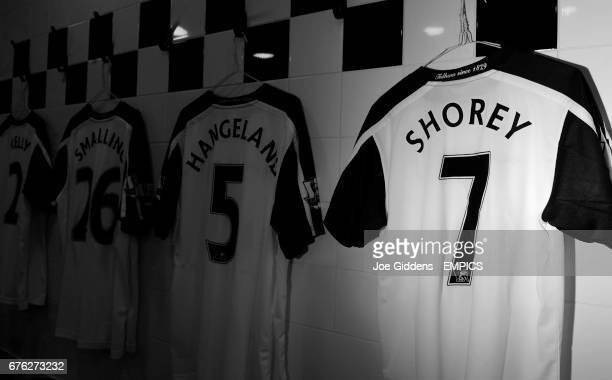 The shirt of Fulham's new signing Nicky Shorey hangs in the dressing room **EDITORS PLEASE NOTE IMAGE HAVE BEEN CONVERTED TO BLACK AND WHITE**