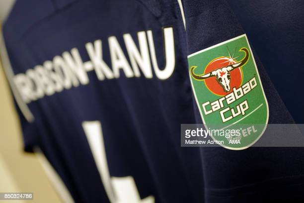 The shirt of Hal RobsonKanu of West Bromwich Albion with the Carabao Cup logo prior to the Carabao Cup Third Round fixture between West Bromwich...