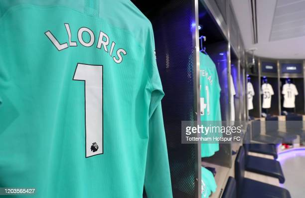 The shirt of Hugo Lloris of Tottenham Hotspur is seen in the changing room prior to the Premier League match between Tottenham Hotspur and Manchester...