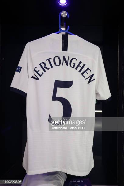 The shirt of Jan Vertonghen of Tottenham Hotspur is seen in the Tottenham Hotspur dressing room prior to the UEFA Champions League group B match...