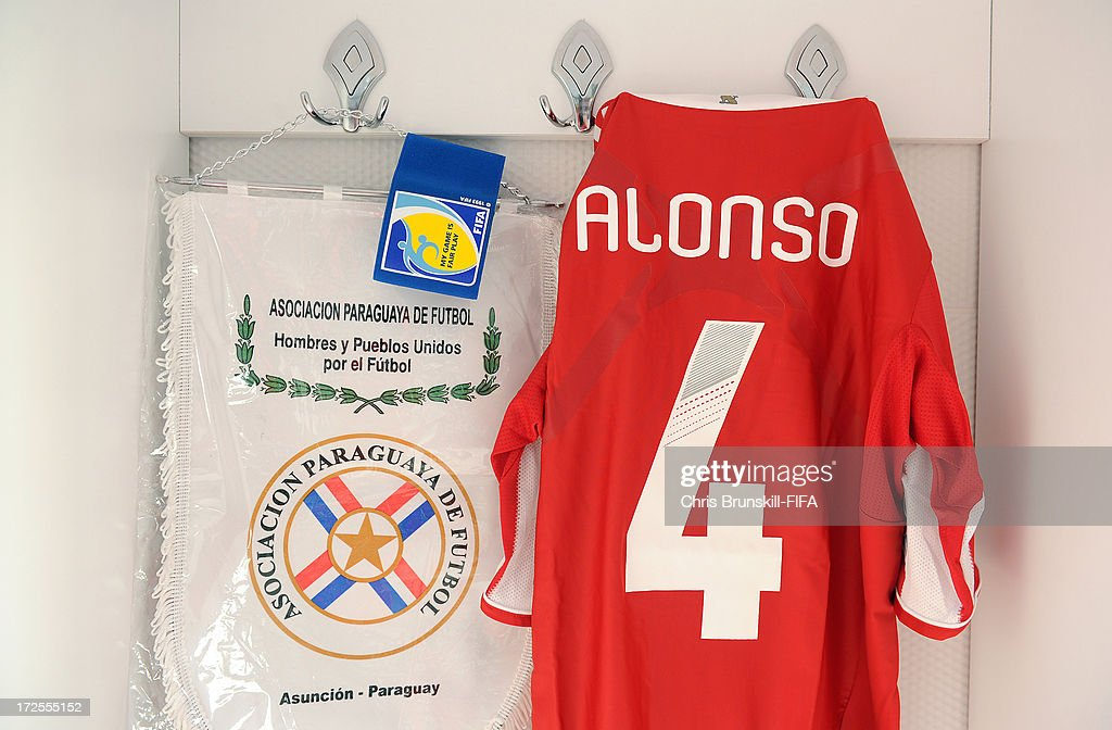 The shirt of Junior Alonso of Paraguay hangs in the dressing room prior to the FIFA U20 World Cup Round of 16 match between Iraq and Paraguay at Akdeniz University Stadium on July 03, 2013 in Antalya, Turkey.