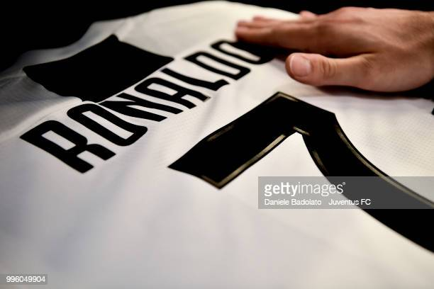 The shirt of Juventus new signing Cristiano Ronaldo is on sale at Jstore on July 11 2018 in Turin Italy