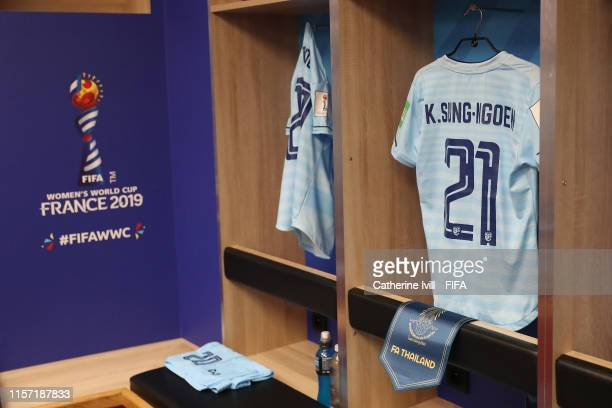 The shirt of Kanjana SungNgoen of Thailand is seen hanging inside the dressing room prior to the 2019 FIFA Women's World Cup France group F match...