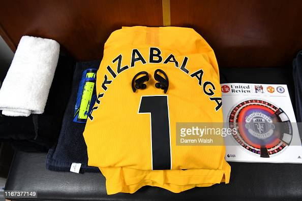 finest selection 11448 7ae3a The shirt of Kepa Arrizabalaga of Chelsea is seen in the ...