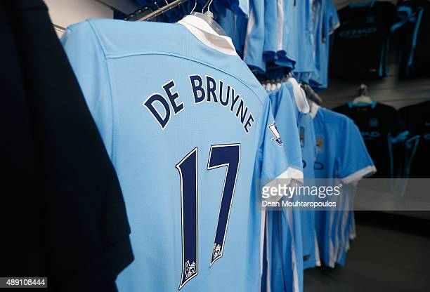 The shirt of Kevin de Bruyne of Manchester City is displayed at the shop prior to the Barclays Premier League match between Manchester City and West...