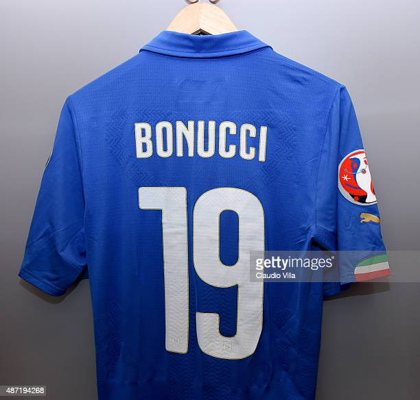 The shirt of Leonardo Bonucci of Italy hangs in the home dressing room before the UEFA EURO 2016 Qualifier match between Italy and Bulgaria on...