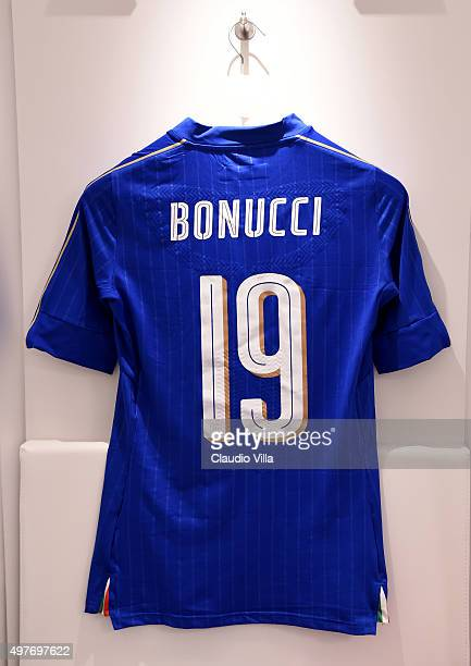 The shirt of Leonardo Bonucci of Italy hangs in the home dressing room before the international friendly match between Italy and Romania at Stadio...