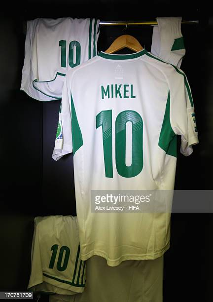 The shirt of Mikel John Obi hangs in the Nigeria changing room prior to the FIFA Confederations Cup Brazil 2013 Group B match between Tahiti and...