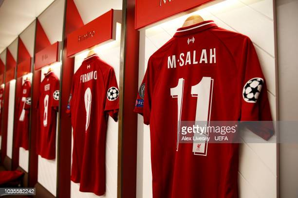 The shirt of Mohamed Salah of Liverpool hangs in the dressing room prior to the Group C match of the UEFA Champions League between Liverpool and...