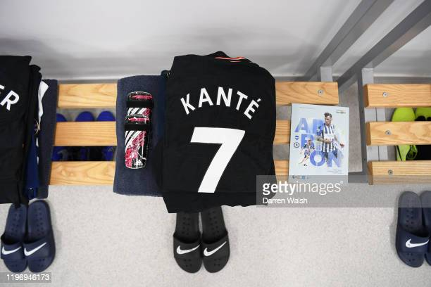 The shirt of N'Golo Kante of Chelsea is seen in the dressing room prior to the Premier League match between Brighton Hove Albion and Chelsea FC at...
