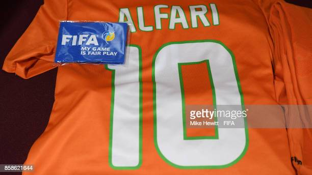 The shirt of Niger captain Rachid Alfari is laid out in the changing room ahead of the FIFA U17 World Cup India 2017 group D match between Korea DPR...
