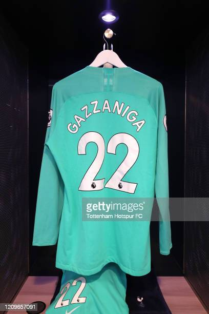 The shirt of Paulo Gazzaniga of Tottenham Hotspur in the dressing room prior to the Premier League match between Tottenham Hotspur and Wolverhampton...