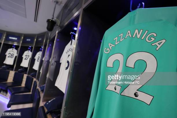 The shirt of Paulo Gazzaniga of Tottenham Hotspur is displayed inside the Tottenham Hotspur dressing room ahead of the Premier League match between...