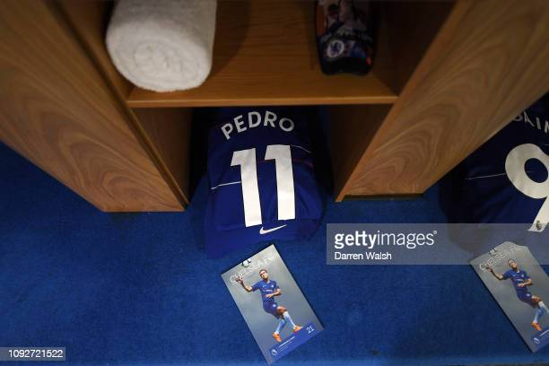 The shirt of Pedro is seen in the Chelsea dressing room prior to the Premier League match between Chelsea FC and Huddersfield Town at Stamford Bridge...