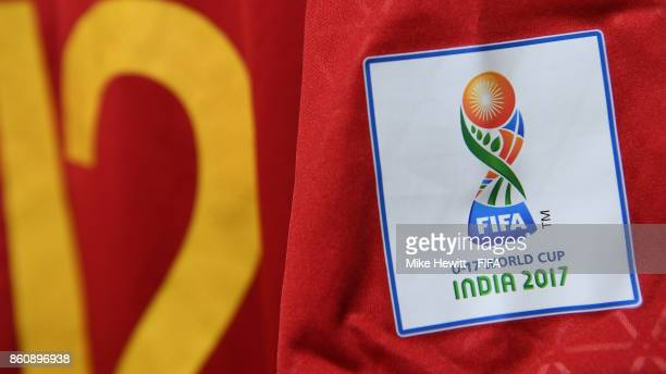 The shirt of Pedro Ruiz of Spain hangs in the changing room ahead of the FIFA U17 World Cup India 2017 group D match between Spain and Korea DPR at...