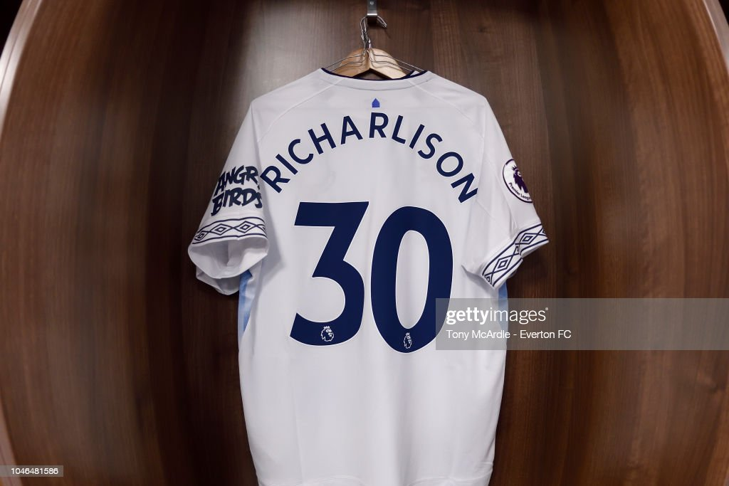 new product 9f3f7 13618 The shirt of Richarlison of Everton hangs in the away ...