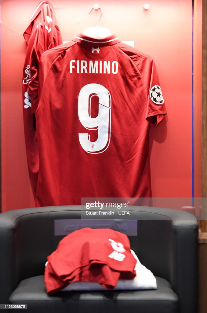 new arrival d03e6 9139e The shirt of Roberto Firmino of Liverpool is seen hanging in ...