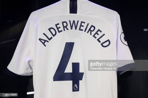 The shirt of Toby Alderweireld of Tottenham Hotspur is displayed inside the Tottenham Hotspur dressing room ahead of the Premier League match between...