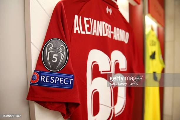 The shirt of Trent AlexanderArnold of Liverpool hangs in the dressing room prior to the Group C match of the UEFA Champions League between Liverpool...