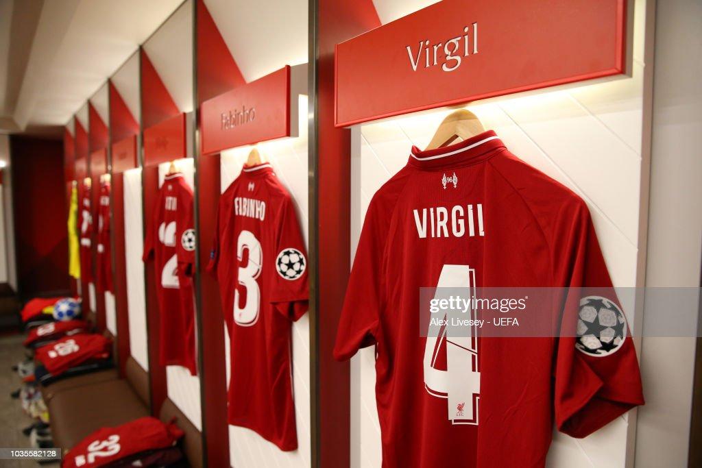 low priced 1b943 1acdb The shirt of Virgil van Dijk of Liverpool hangs in the ...