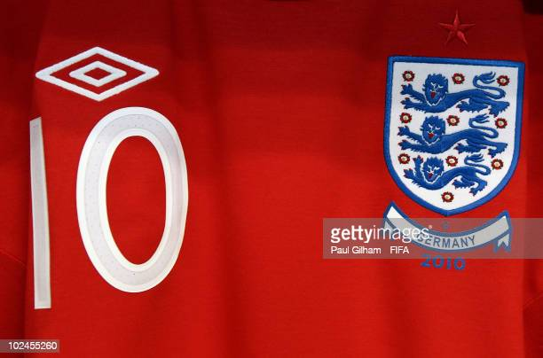 The shirt of Wayne Rooney of England on display in the dressing room prior to the 2010 FIFA World Cup South Africa Round of Sixteen match between...