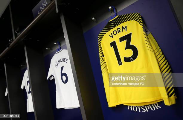 The shirt to be worn by Michel Vorm of Tottenham Hotspur hangs in the dressing room prior to The Emirates FA Cup Third Round match between Tottenham...