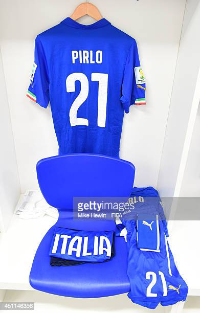 The shirt worn by Andrea Pirlo of Italy hang in the dressing room prior to the 2014 FIFA World Cup Brazil Group D match between Italy and Uruguay at...