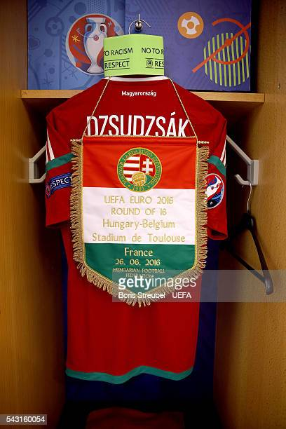 The shirt worn by Balazs Dzsudzsak of Hungary is hung in the dressing room prior to the UEFA EURO 2016 round of 16 match bewtween Hungary and Belgium...