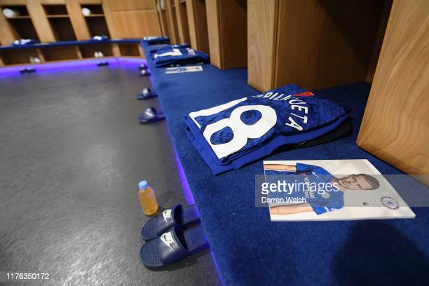 The shirt worn by Cesar Azpilicueta of Chelsea is displayed in the dressing room prior to the Premier League match between Chelsea FC and Liverpool...