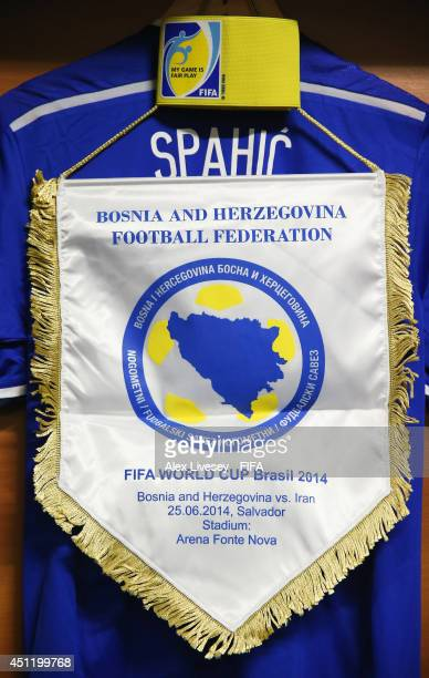 The shirt worn by Emir Spahic of BosniaHerzegovina and match pennant are displayed prior to the 2014 FIFA World Cup Brazil Group F match between...