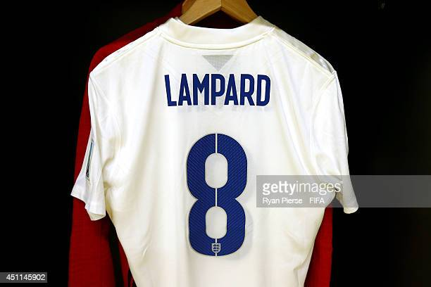 The shirt worn by Frank Lampard of England hang in the dressing room prior to the 2014 FIFA World Cup Brazil Group D match between Costa Rica and...