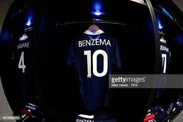 The shirt worn by Karim Benzema of France hangs in the dressing room prior to the 2014 FIFA World Cup Brazil Quarter Final match between France and...