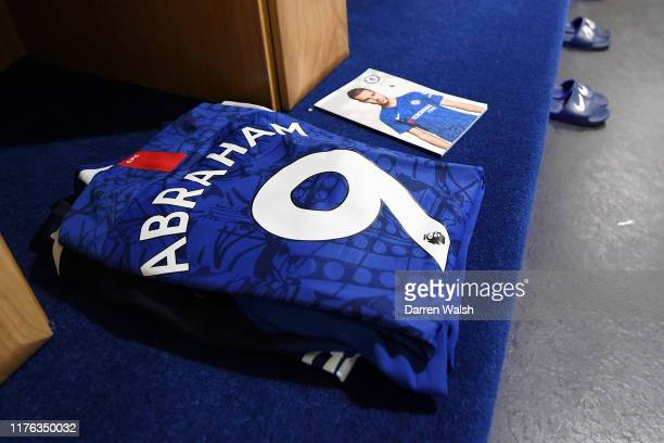 The shirt worn by Tammy Abraham of Chelsea is displayed in the dressing room prior to the Premier League match between Chelsea FC and Liverpool FC at...
