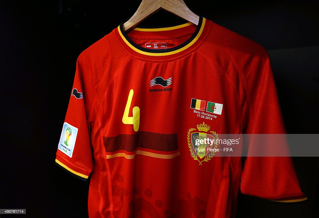 285c3b993 The shirt worn by Vincent Kompany of Belgium hangs in the dressing ...