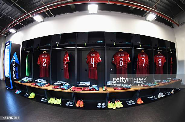 The shirts and football boots worn by Portugal players are displayed in the dressing room prior to the 2014 FIFA World Cup Brazil Group G match...