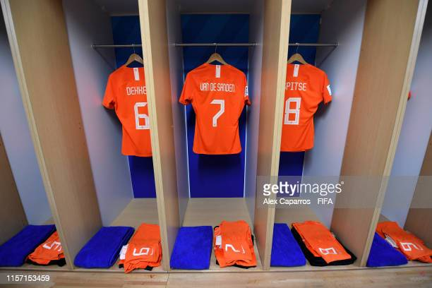 The shirts of Amouk Dekker, Shanice Van De Sanden and Sherida Spitse of the Netherlands are seen hanging inside the dressing room prior to the 2019...
