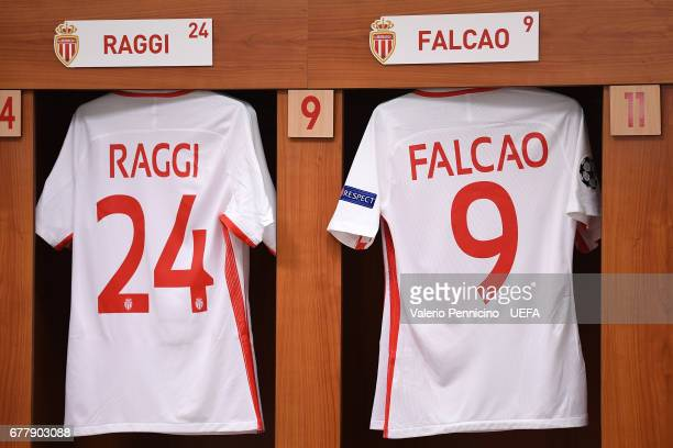 The Shirts of Andrea Raggi and Radamel Falcao of AS Monaco FC in the dressing room of AS Monaco FC prior to the UEFA Champions League Semi Final...