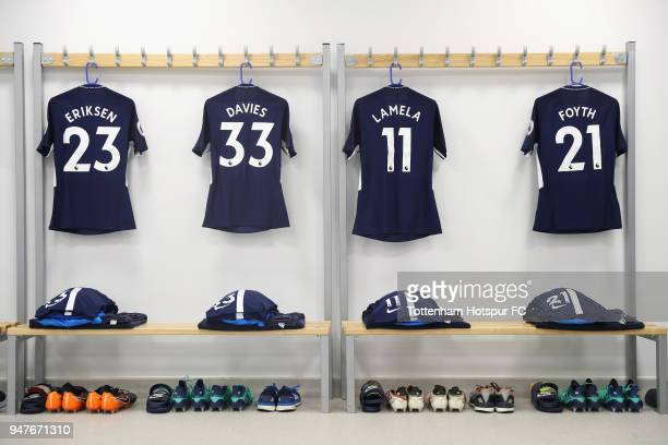 The shirts of Christian Eriksen Ben Davies Erik Lamela and Juan Foyth of Tottenham Hotspur are seen in the dressing room prior to the Premier League...