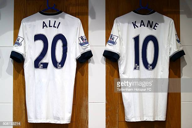 The shirts of Dele Alli and Harry Kane hang in the Tottenham Hotspur changing room prior to the Barclays Premier League match between Tottenham...