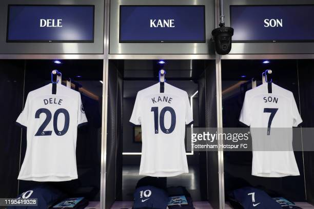 The shirts of Dele Alli Harry Kane and HeungMin Son of Tottenham Hotspur are displayed inside the Tottenham Hotspur dressing room ahead of the...