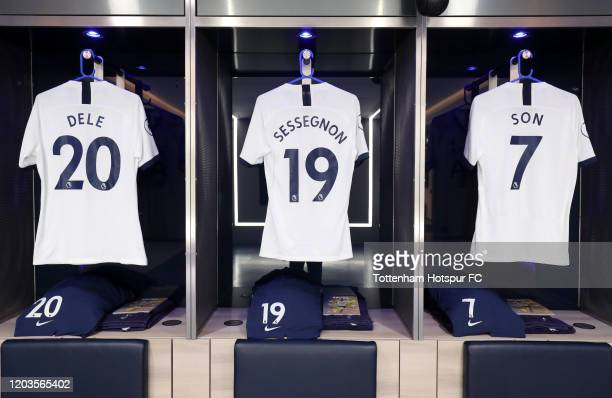 The shirts of Dele Alli, Ryan Sessegnon and Heung-Min Son of Tottenham Hotspur are seen in the changing room prior to the Premier League match...