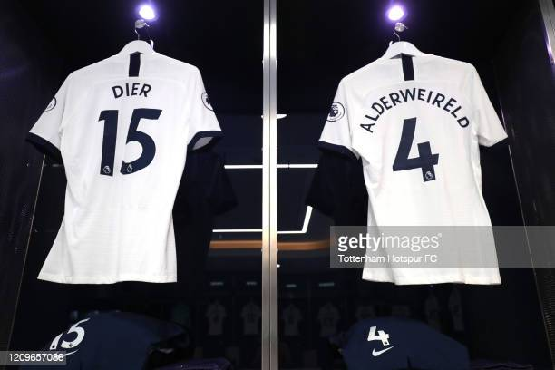 The shirts of Eric Dier and Toby Alderweireld of Tottenham Hotspur in the dressing room prior to the Premier League match between Tottenham Hotspur...