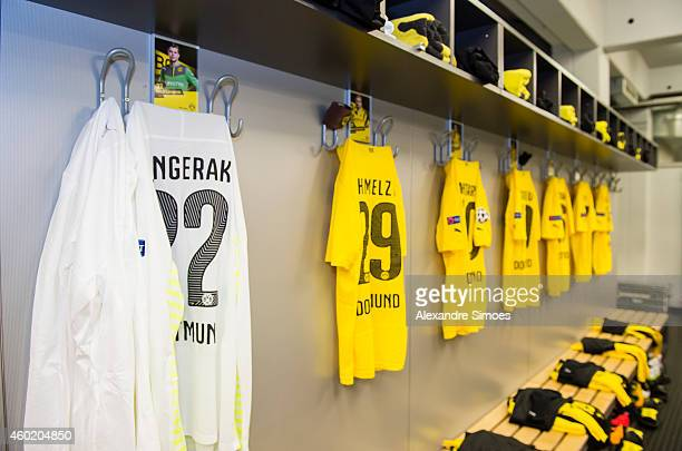 The shirts of goal keeper Mitchell Langerak and Marcel Schmelzer in the changing room of Dortmund before the UEFA Champions League first round in...