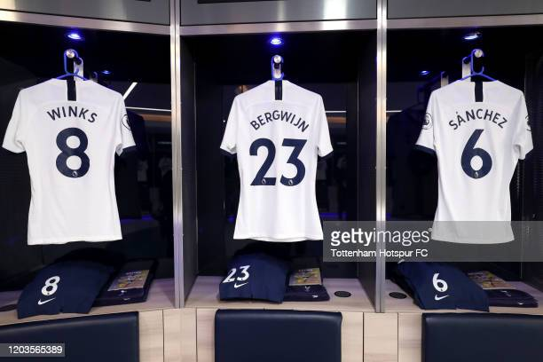 The shirts of Harry Winks, Steven Bergwijn and Davinson Sanchez of Tottenham Hotspur are seen in the changing room prior to the Premier League match...
