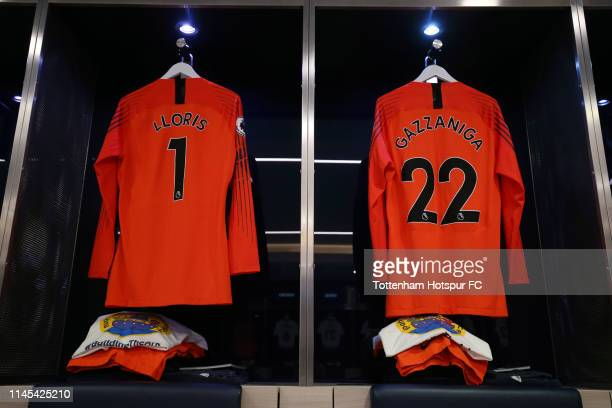 The shirts of Hugo Lloris and Paulo Gazzaniga of Tottenham Hotspur are seen inside the dressing room prior to the Premier League match between...