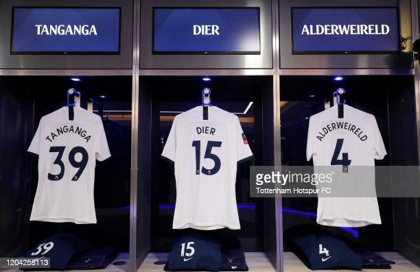 The shirts of Japhet Tanganga, Eric Dier and Toby Alderweireld of Tottenham Hotspur are displayed inside the Tottenham Hotspur dressing room prior to...