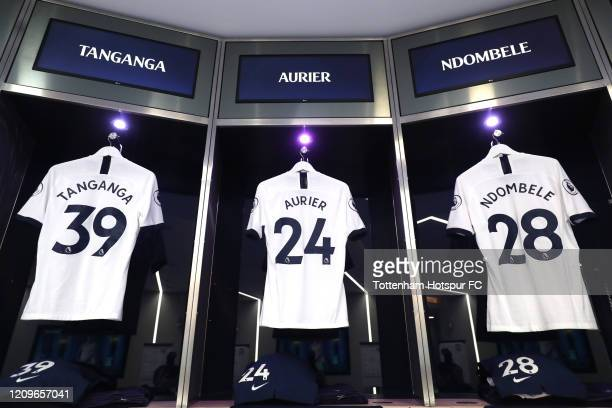 The shirts of Japhet Tanganga Serge Aurier and Tanguy Ndombele of Tottenham Hotspur in the dressing room prior to the Premier League match between...